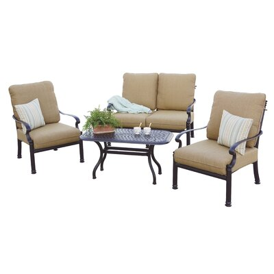 Santa Barbara 4 Piece Deep Seating Group with Cushions Frame Finish: Antique Bronze