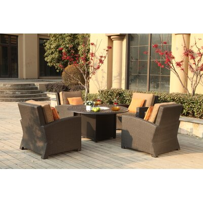 Vienna 5 Piece Fire Pit Seating Group with Cushions