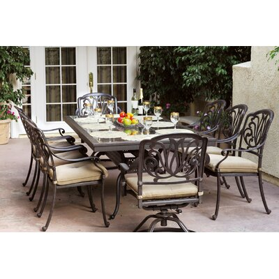 Astoria Grand Skyloft Traditional 9 Piece Dining Set with Cushions