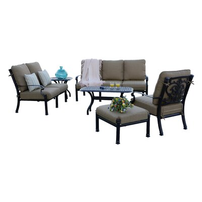 Santa Barbara 6 Piece Deep Seating Group with Cushions Frame Finish: Antique Bronze