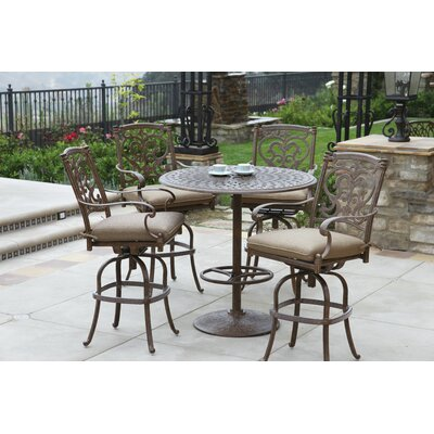 Santa Barbara 5 Piece Bar Set with Cushions Finish: Mocha