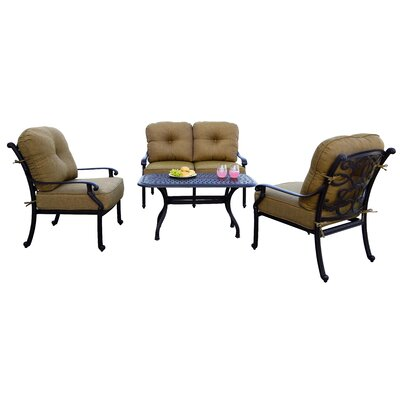 Santa Monica 4 Piece Deep Seating Group with Cushions