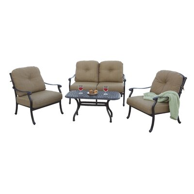 Sedona 4 Piece Deep Seating Group with Cushions Frame Finish: Antique Bronze