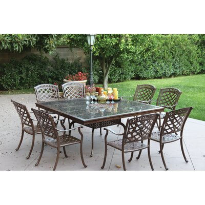 Sedona 9 Piece Dining Set with Cushions Finish: Mocha