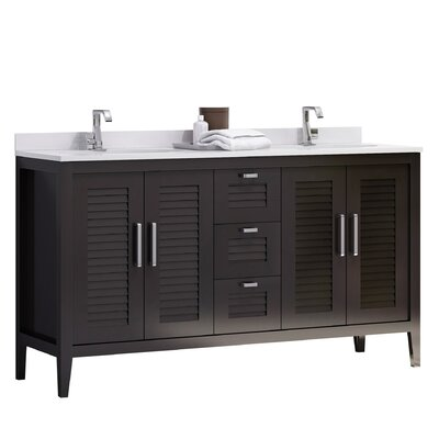 Madrid 60 Double Sink Master Bathroom Vanity Set Base Finish: Espresso