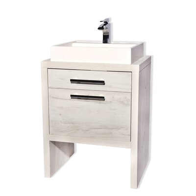Amato 32 Single Bathroom Vanity Set Color: White Natural Oak