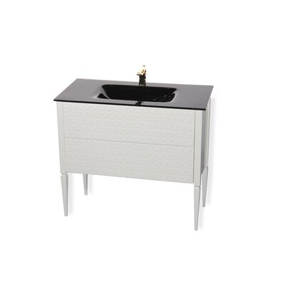 Clayborn 40 Single Bathroom Vanity Set Sink Finish: Black, Base Finish: White