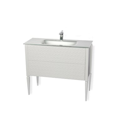 Clayborn 40 Single Bathroom Vanity Set Sink Finish: Silver, Base Finish: White