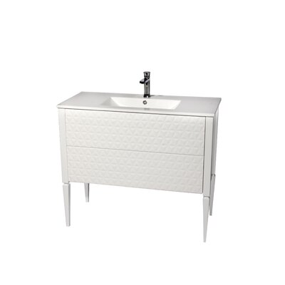 Clayborn 40 Single Bathroom Vanity Set Sink Finish: White, Base Finish: White