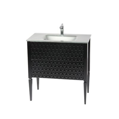 Clayborn 40 Single Bathroom Vanity Set Sink Finish: Silver, Base Finish: Black