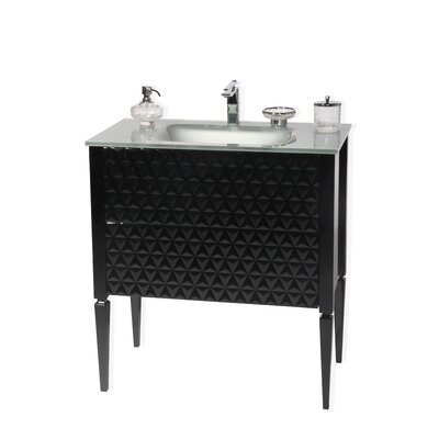 Largo 32 Single Bathroom Vanity Set Sink Finish: Silver, Base Finish: Black