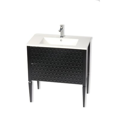 Clayborn 40 Single Bathroom Vanity Set Sink Finish: White, Base Finish: Black