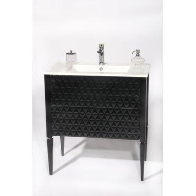 Largo 32 Single Bathroom Vanity Set Sink Finish: White, Base Finish: Black