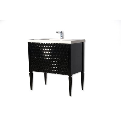 Largo 32 Single Bathroom Vanity Set Sink Finish: White Matte, Base Finish: Black