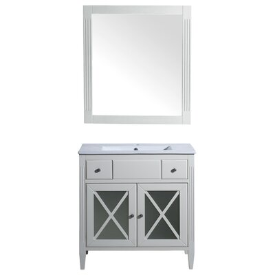 Postell 40 Single Bathroom Vanity with Mirror Base Finish: White