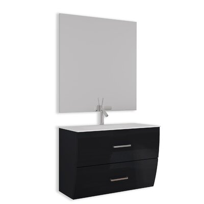 Ralls Gloss and Matte 24 Single Bathroom Vanity Set with Mirror Base Finish: Black
