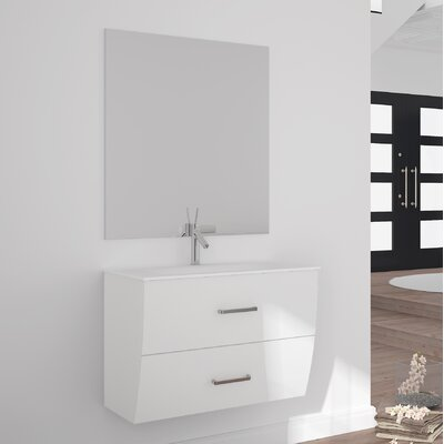 Ralls Gloss and Matte 24 Single Bathroom Vanity Set with Mirror Base Finish: White