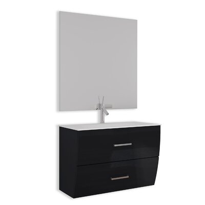 Ralls Gloss and Matte 32 Single Bathroom Vanity Set with Mirror Base Finish: Black