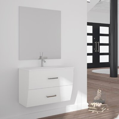 Ralls Gloss and Matte 32 Single Bathroom Vanity Set with Mirror Base Finish: White