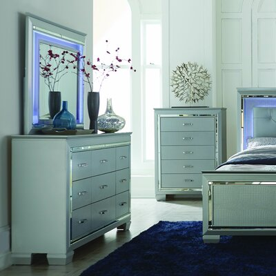 Allura 9 Drawer Dresser with Mirror