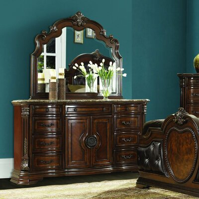 Antoinetta 10 Drawer Combo Dresser with Mirror