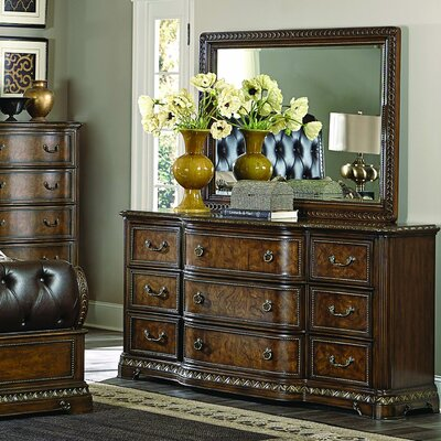 Brompton Lane 9 Drawer Dresser with Mirror