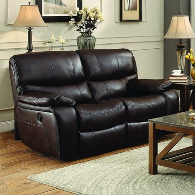 Beck Reclining Loveseat Type: Manual, Upholstery: Brown