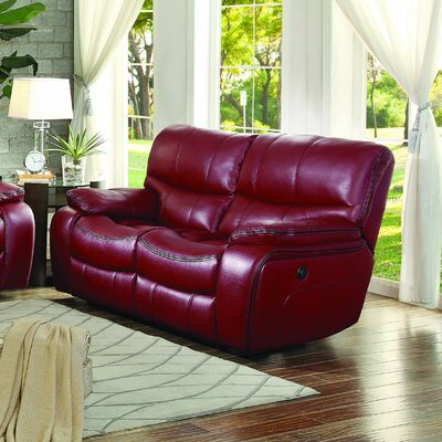 Beck Reclining Loveseat Type: Power, Upholstery: Red