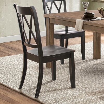 Diane Solid Wood Dining Chair (Set of 2) Color: Black