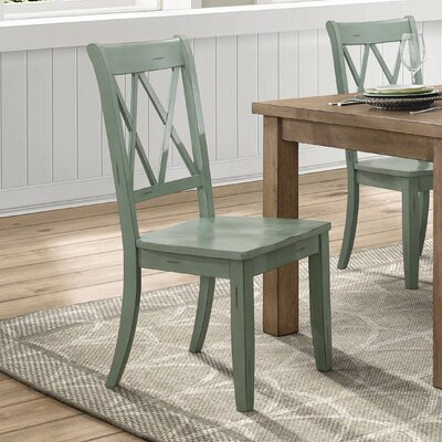 Diane Solid Wood Dining Chair (Set of 2) Color: Teal