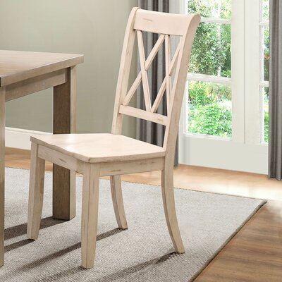 Diane Solid Wood Dining Chair (Set of 2) Color: White