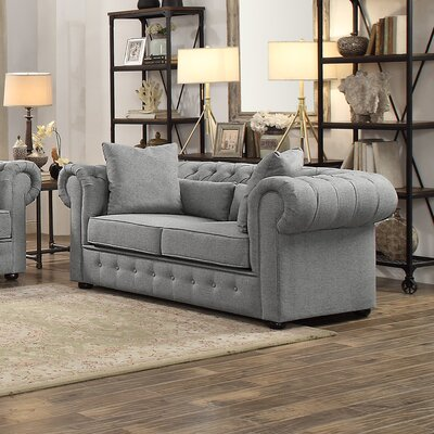 Pearlie Chesterfield Loveseat Upholstery: Gray