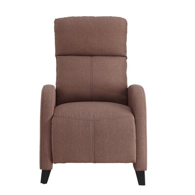 Dohn Push Back Manual No Motion Recliner Upholstery: Brown Fabric