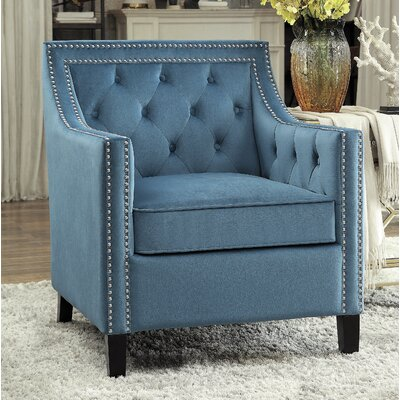 Dostie Armchair with Nailhead Upholstery: Blue