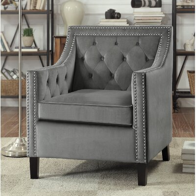 Dostie Armchair with Nailhead Upholstery: Gray