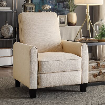 Zelee Push Back Manual No Motion Recliner Upholstery: Beige
