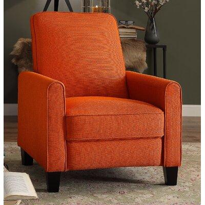 Zelee Push Back Manual No Motion Recliner Upholstery: Orange