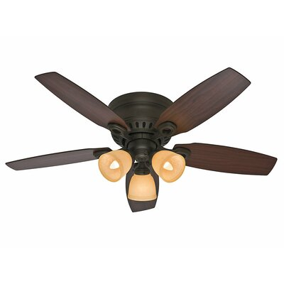 46 Hatherton 5 Blade Ceiling Fan Finish: Bronze with Roasted Walnut/Yellow Walnut Blades image
