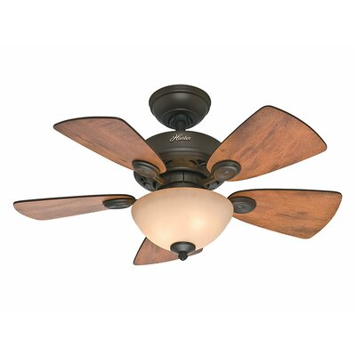 34 Watson 5 Blade Ceiling Fan Finish: Bronze with Cabin Home/Walnut Blades image