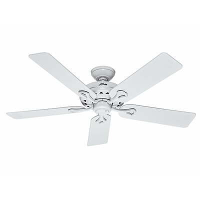 52 The Savoy 5 Blade Ceiling Fan Finish: White with Light Oak/White Blades image