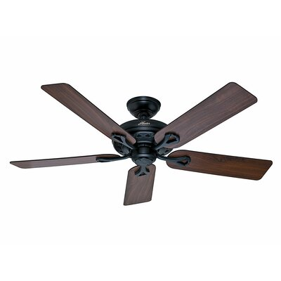 52 The Savoy 5 Blade Ceiling Fan Finish: Matte Black with Walnut/Light Cherry Blades image