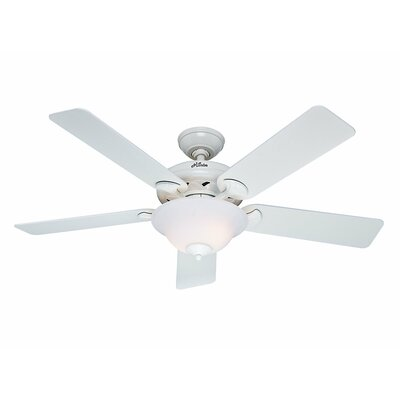 52 The Brookline 5 Blade Ceiling Fan Finish: White with Bleached Oak/White Blades image