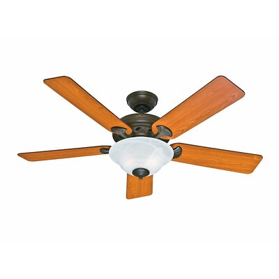 52 The Brookline 5 Blade Ceiling Fan Finish: Provencal Gold with Light Cherry/Medium Oak Blades image