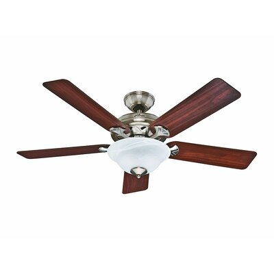 52 The Brookline 5 Blade Ceiling Fan Finish: Brushed Nickel with Maple/Cherry Blades image