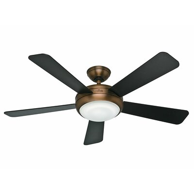 52 Palermo 5 Blade Ceiling Fan with Remote Finish: Brushed Bronze with Black/Walnut Blades image