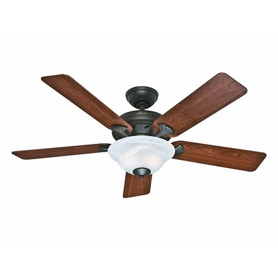 52 The Brookline 5 Blade Ceiling Fan Finish: Bronze with Dark Cherry/Medium Oak Blades image