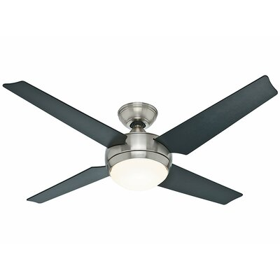 50 Sonic 4 Blade Ceiling Fan Finish: Brushed Nickel with Black/Maple Blades image