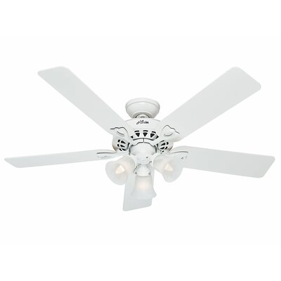 52 The Sontera� 5-Blade Ceiling Fan with Remote Finish: White with Bleached Oak/White Blades