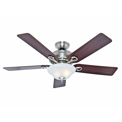 52 The Kensington 5 Blade Ceiling Fan Finish: Brushed Nickel with Cherry/Maple Blades image