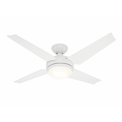 50 Sonic 4 Blade Ceiling Fan Finish: White with White/Maple Blades image
